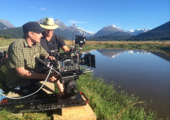 3-Foot Slider Camera Movement System being used to capture a shot by the edge of a lake