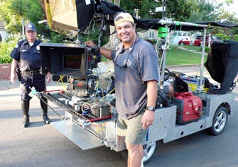 Ron with the 4-Foot Slider mounted on a Griptrix camera car for The Sarah Silverman Program