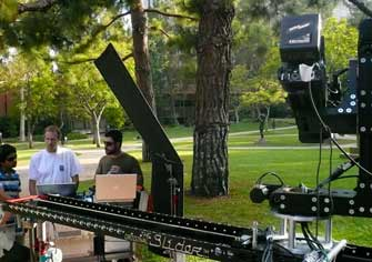 The 8-foot motorized Slider with a remote head working at the park