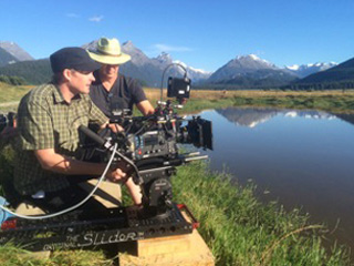 NDP Ben Ruffell operating the 3-Foot Slider Camera-Movement System for a bike commercial in Glenorchy, NZ