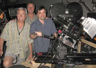 Jerry with gaffer John Gilmore and cinematographer Nick Fuglestad shooting Taco Bell