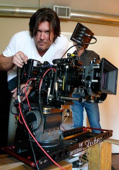 Cinematographer Christopher Pearson on set with the Mini Slider