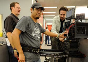 Assistant Director Lee Blaine, 1st A.C. Hiro Fukuda and Director of Photography, Rhet Bear using the Slider