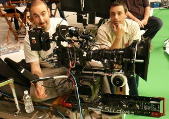 Director of Photography Adam David Meltzer and assistant Craig Jennette on the set with the Mini-Slider