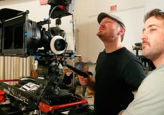 Cinematographer Richard Henkels and assistant Mike Merriman using the mini-Slider with a Canon 5D